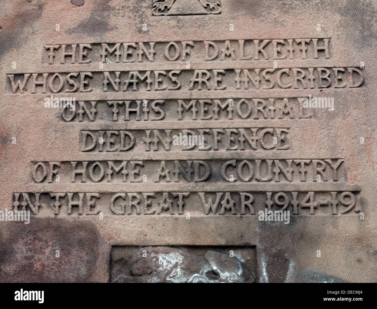 Inscriptions on Dalkeith War memorial 1914-19, Midlothian,Scotland,UK - Stock Image