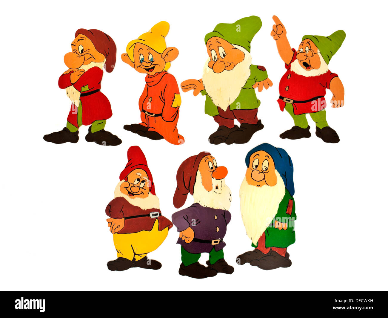 'The Seven Dwarfs' wooden home-made nursery wall decorations - Stock Image