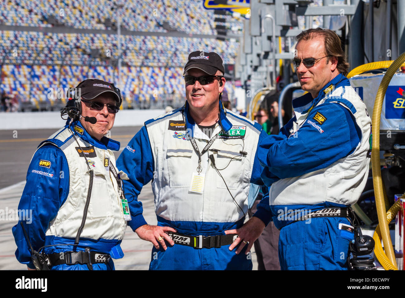 Grand Am officials pit row road track communication Daytona International Speedway race racing Rolex 'Rolex 24' 2012 Florida FL - Stock Image