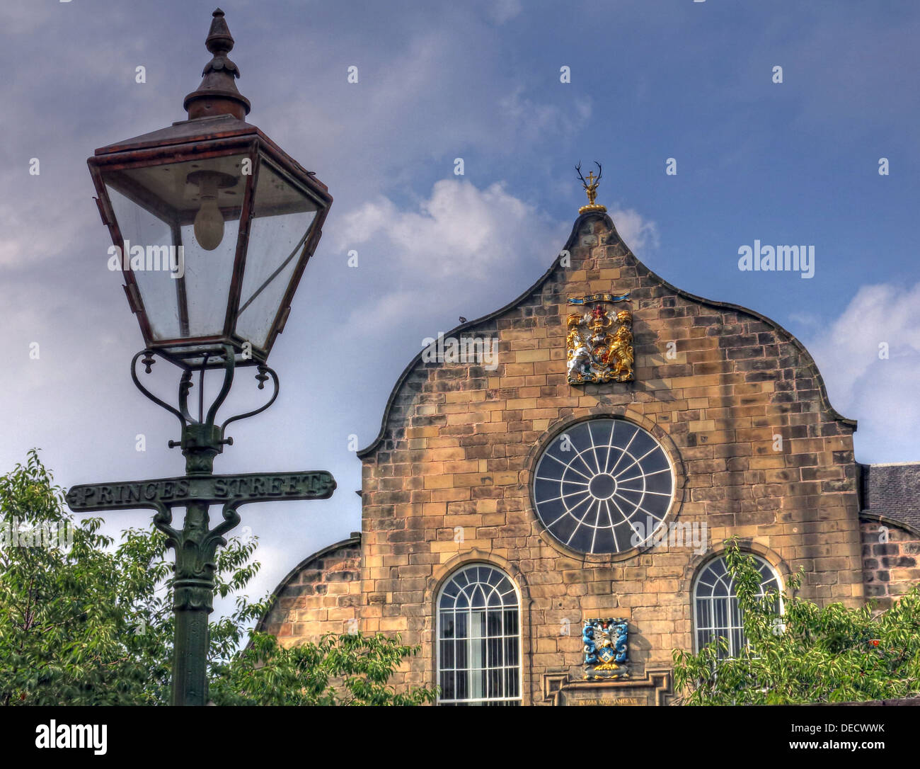 Canongate Kirk Church Edinburgh Royal Mile, Scotland, UK Exterior & old Princes St gas lamp - Stock Image