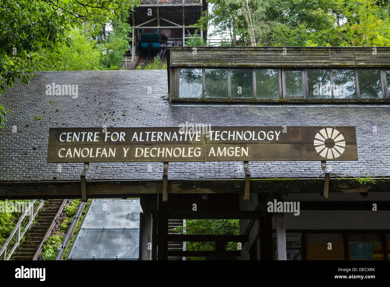 Centre for Alternative Technology entrance with water balanced funicular railway to the left, near Machynlleth, Powys, Wales, UK - Stock Image