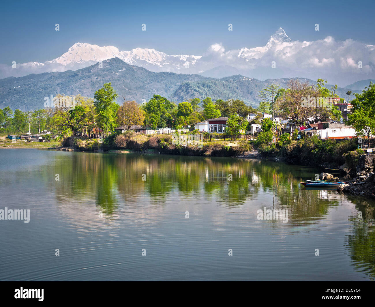 The snowed peak of sacred Machapuchare seen from Pokhara, Nepal. - Stock Image