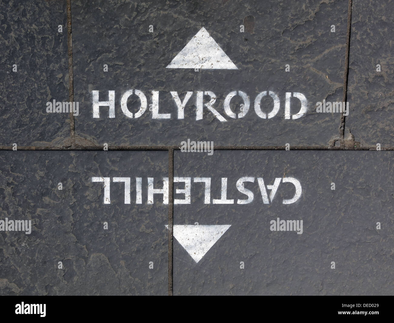 Pavement Sign for Holyrood Castlehill  High St Royal Mile Edinburgh Scotland UK - Stock Image