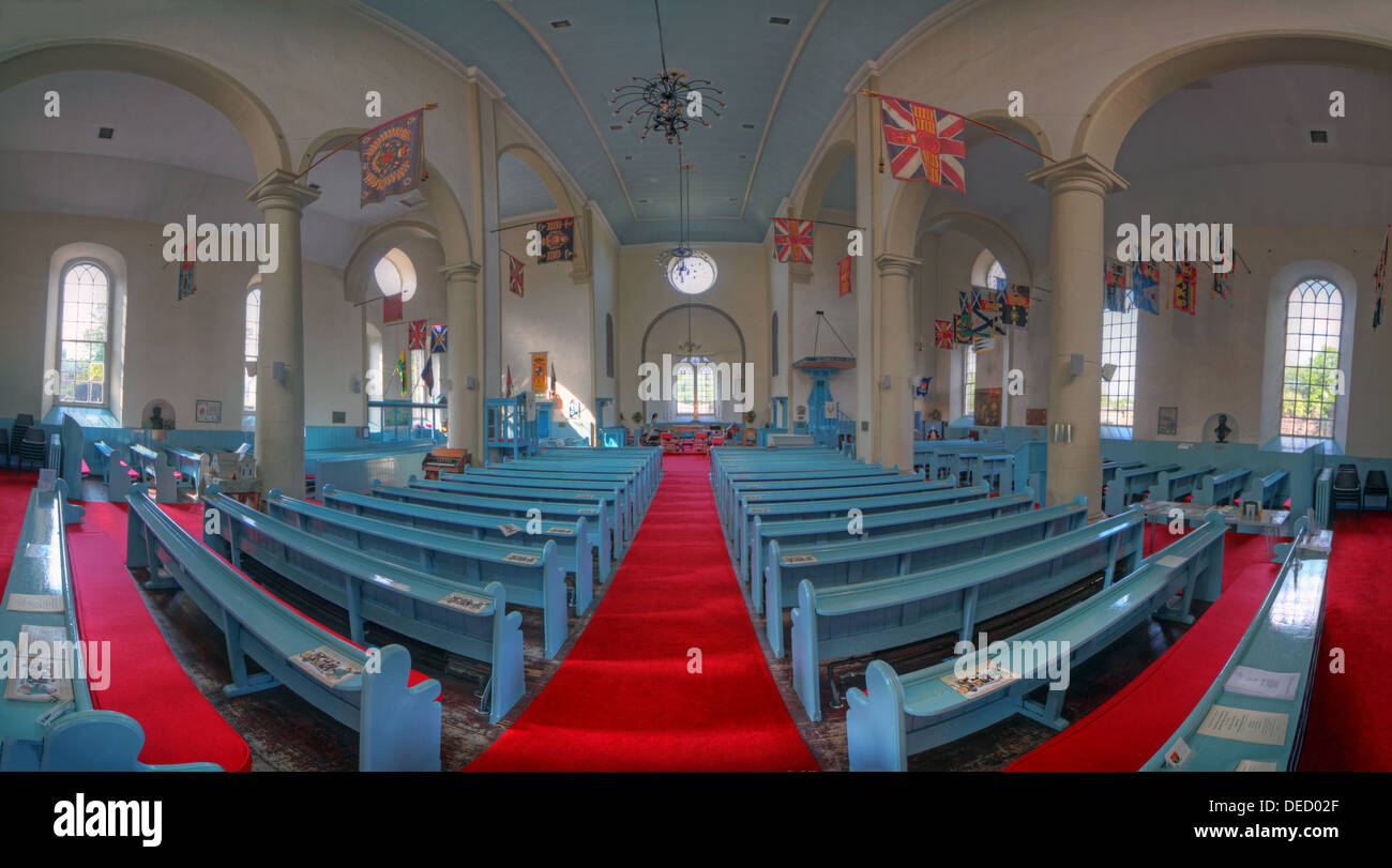 Panorama of Canongate Kirk Church interior,153 Canongate, Edinburgh, Midlothian EH8 8BN - Stock Image