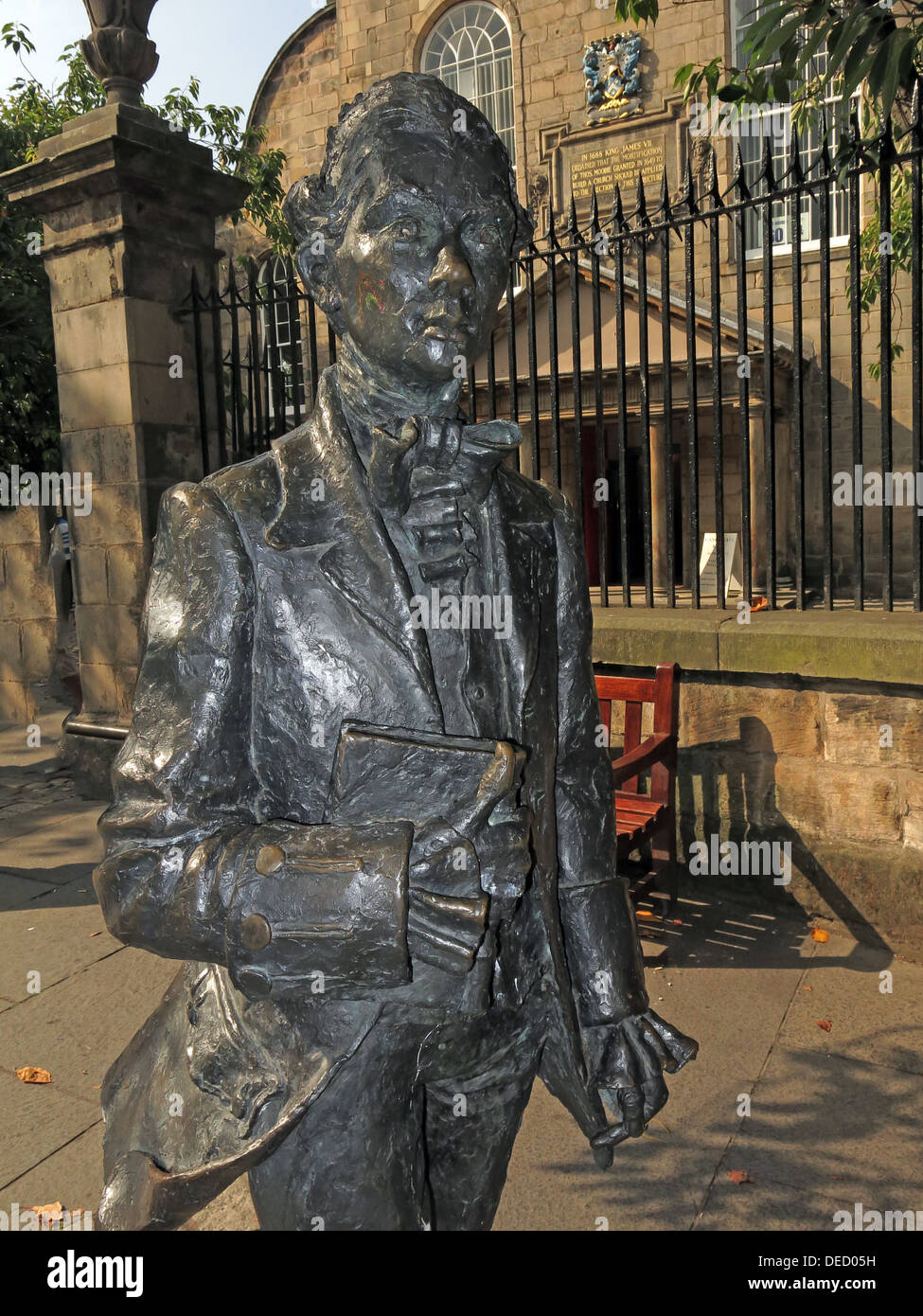 Robert Fergusson Scots Poet bronze Statue from the canongate Edinburgh Royal Mile. - Stock Image