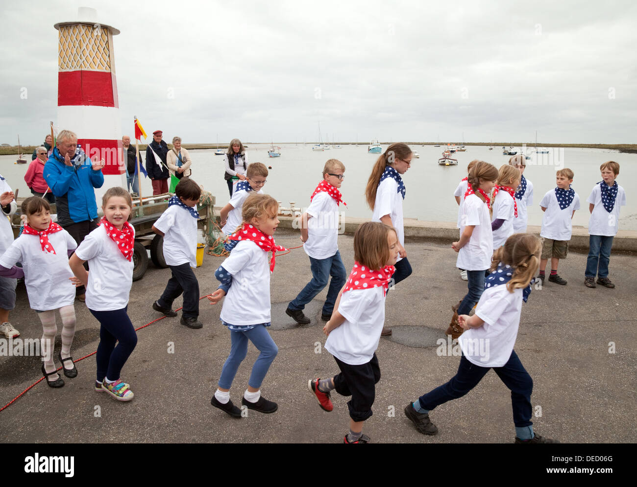Children dancing at a village fete, Orford, village Suffolk England UK - Stock Image