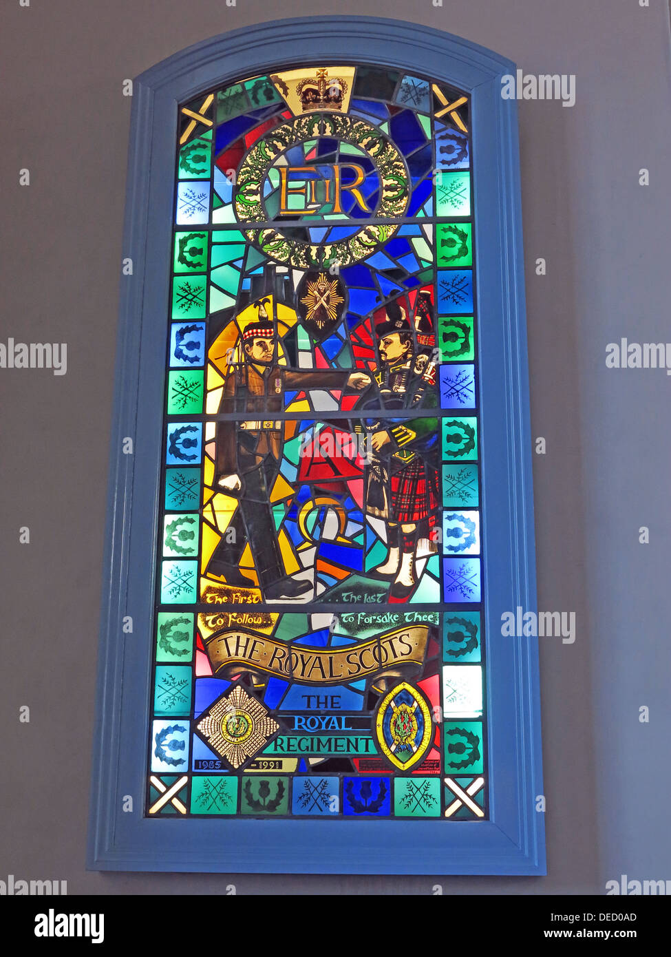 The Royal Regiment window, Canongate Kirk,Edinburgh,Scotland,UK 'The first to follow, The last to forsake thee' - Stock Image
