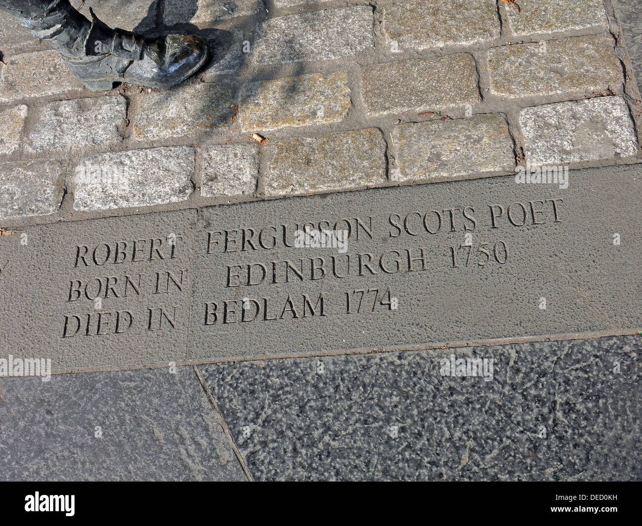 Robert Fergusson Scots Poet bronze Statue from the canongate Edinburgh Royal Mile. - Stock Image