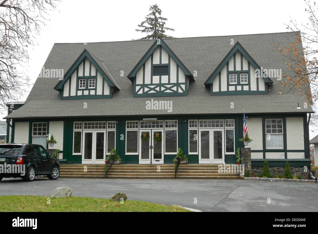Saturday Club, on the NRHP since March 14, 1978 at 117 West Wayne Avenue, Wayne, Pennsylvania. Also in the Downtown Wayne Historic District. - Stock Image