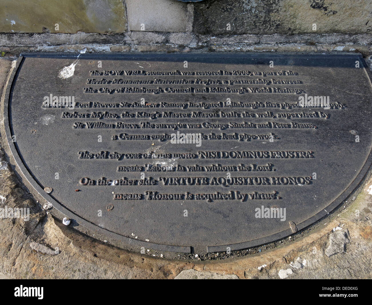 Inscription on the Grassmarket fountain, Edinburgh city, Scotland, UK - Stock Image