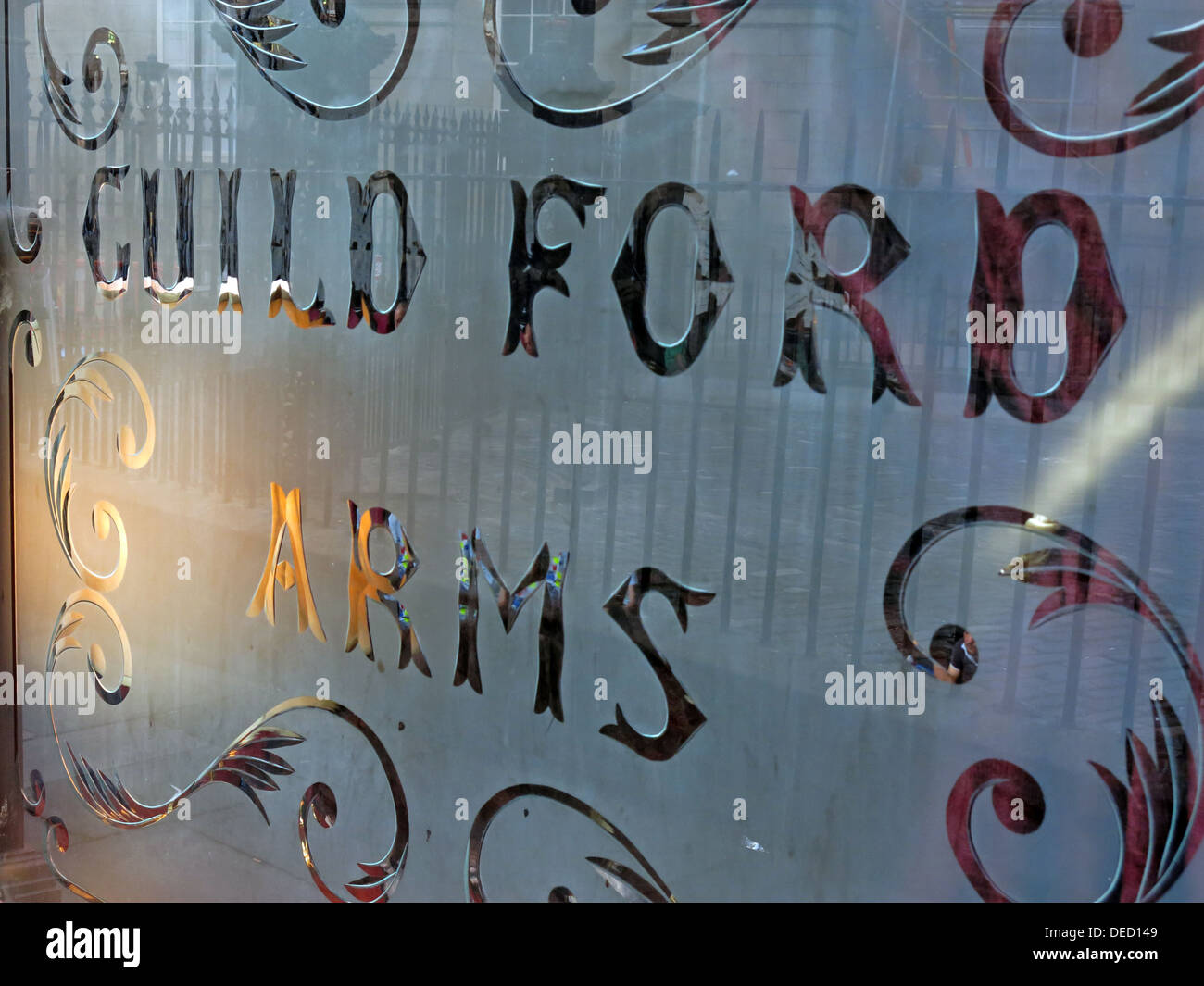 Guildford Arms glass etched pub window, West Register St, Edinburgh, Scotland,UK - Stock Image