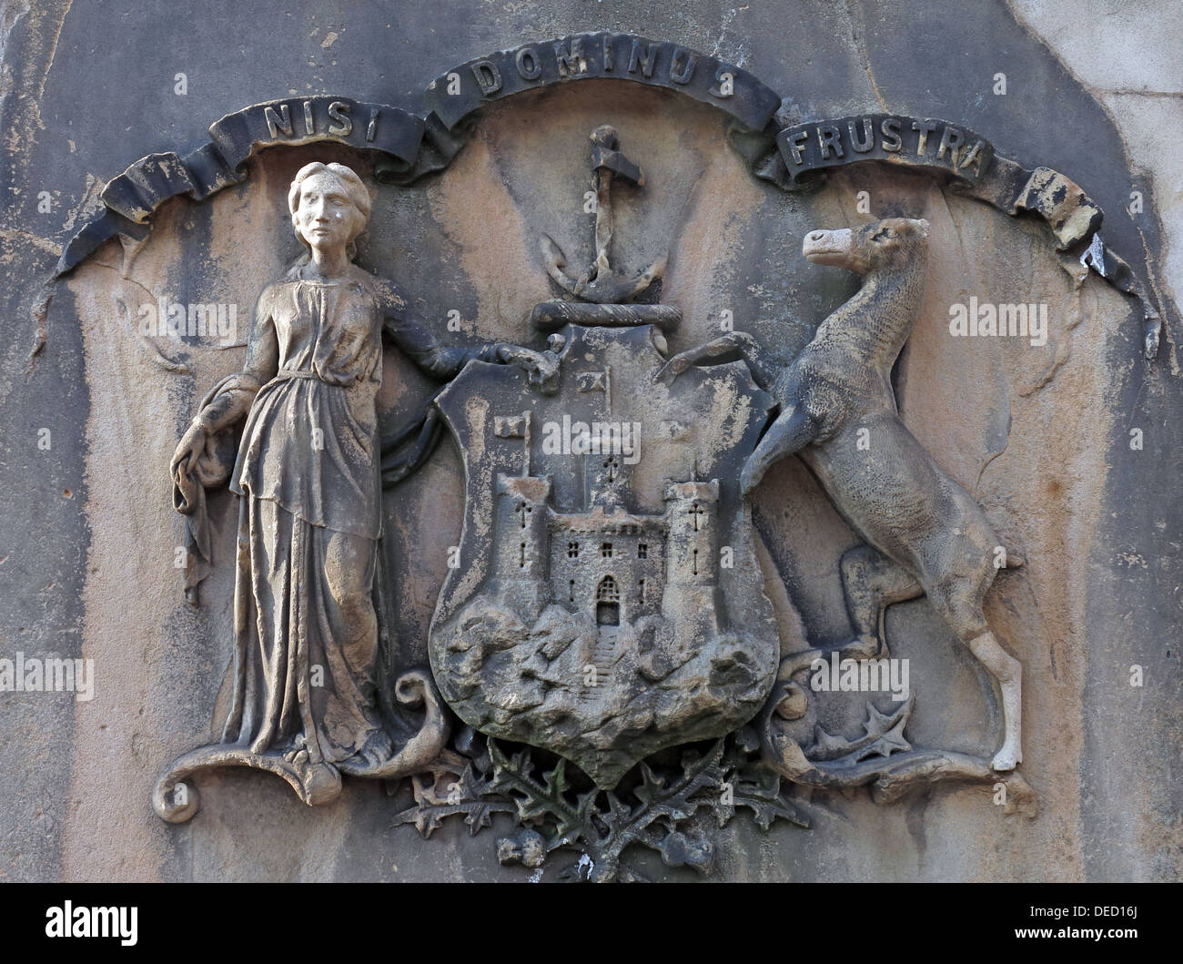 Nisi Dominus Frustra, The Crest of Edinburgh, on city stone fountain,Scotland - Stock Image