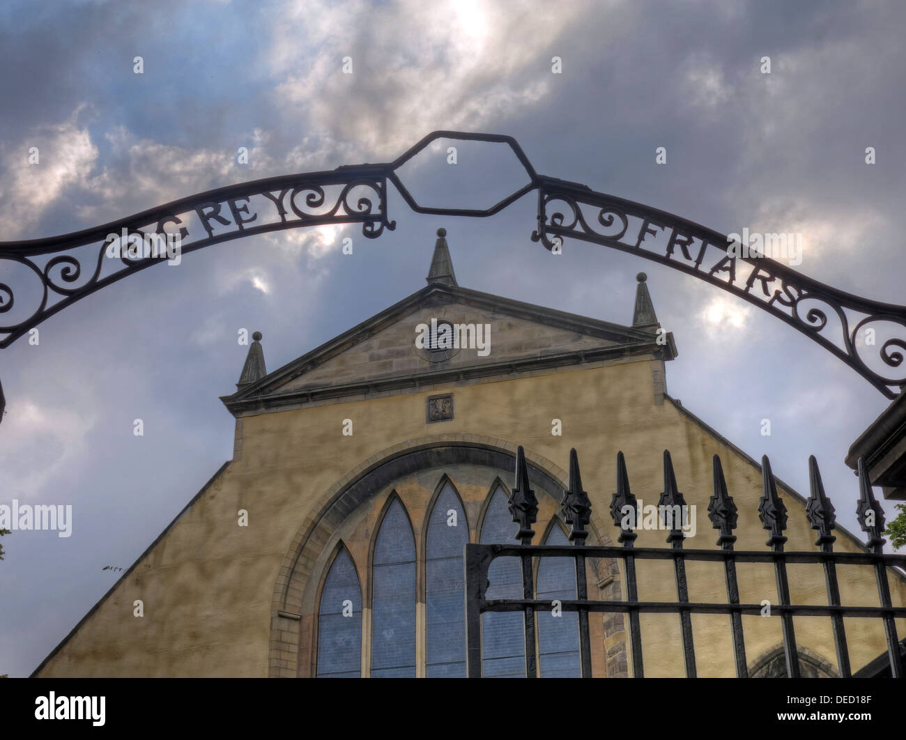Greyfriars Kirk gates , Edinburgh Old Town, Capital City, Scotland UK Stock Photo