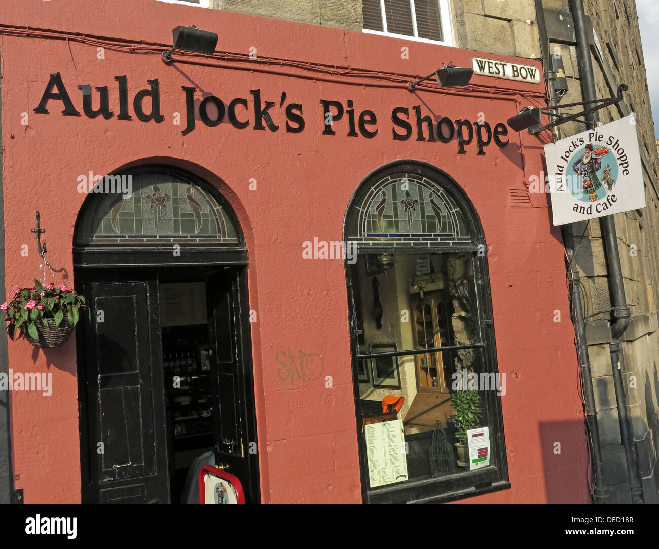 Auld Jocks Pie shoppe, West Bow, Top of Grassmarket, Edinburgh, Scotland, UK - Stock Image