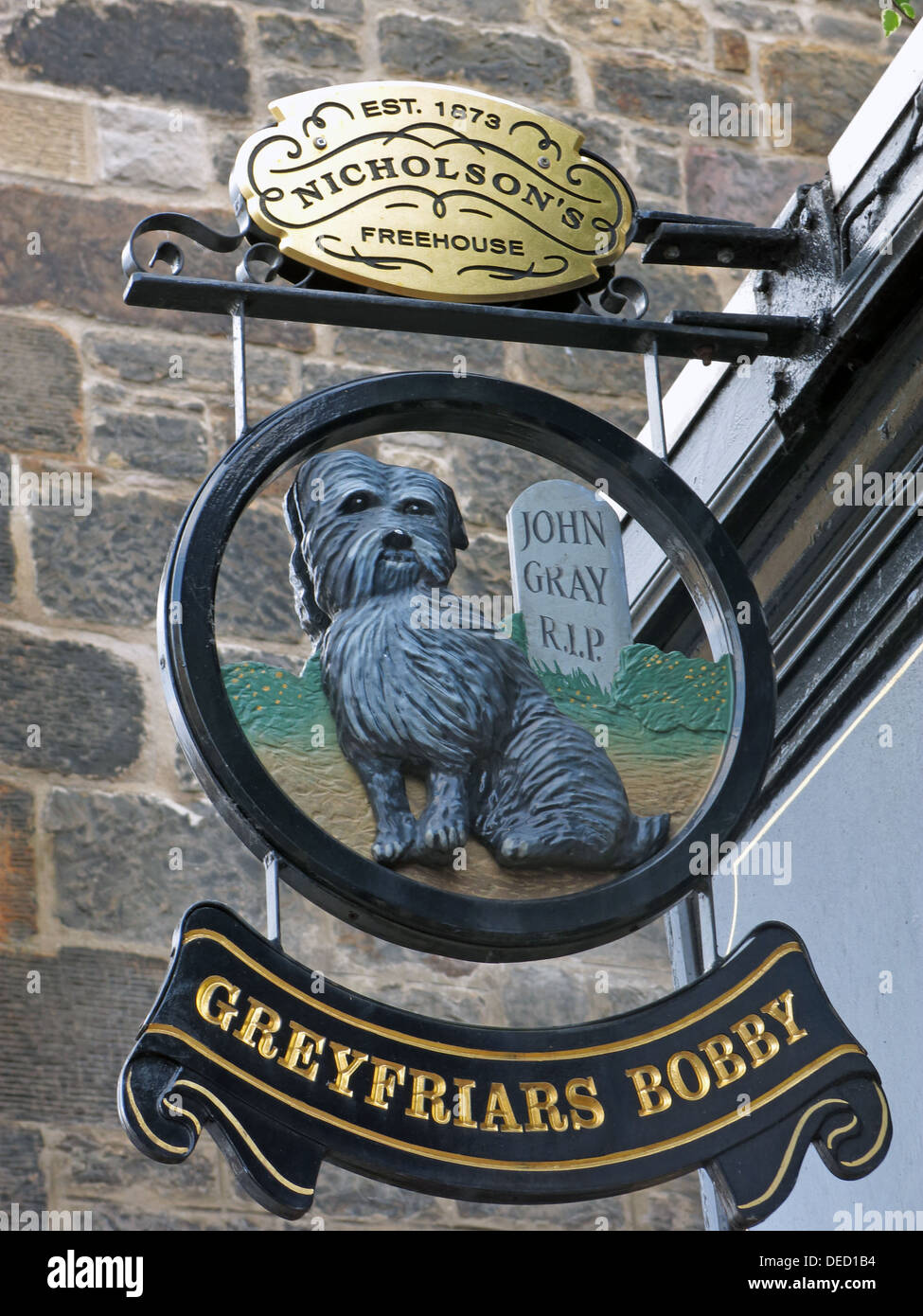 Greyfriars Bobby Pub sign, Old Town, Edinburgh Capital City, Scotland UK - Stock Image