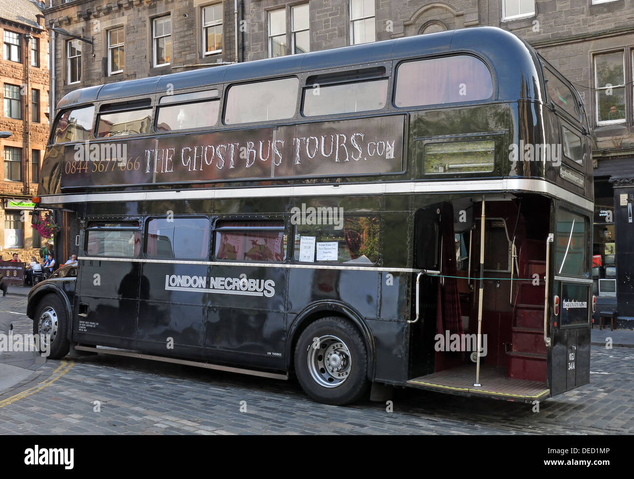 The black London Necrobus, in Edinburgh, Scotland, UK - Stock Image