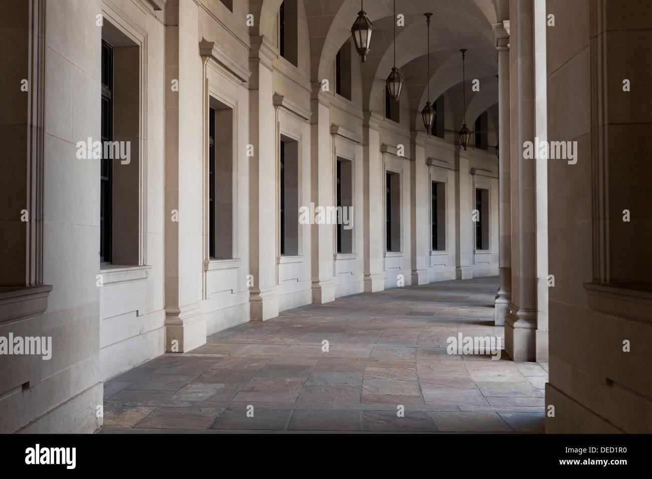William Jefferson Clinton Federal building (old Ariel Rios building) hall columns - Washington, DC USA - Stock Image