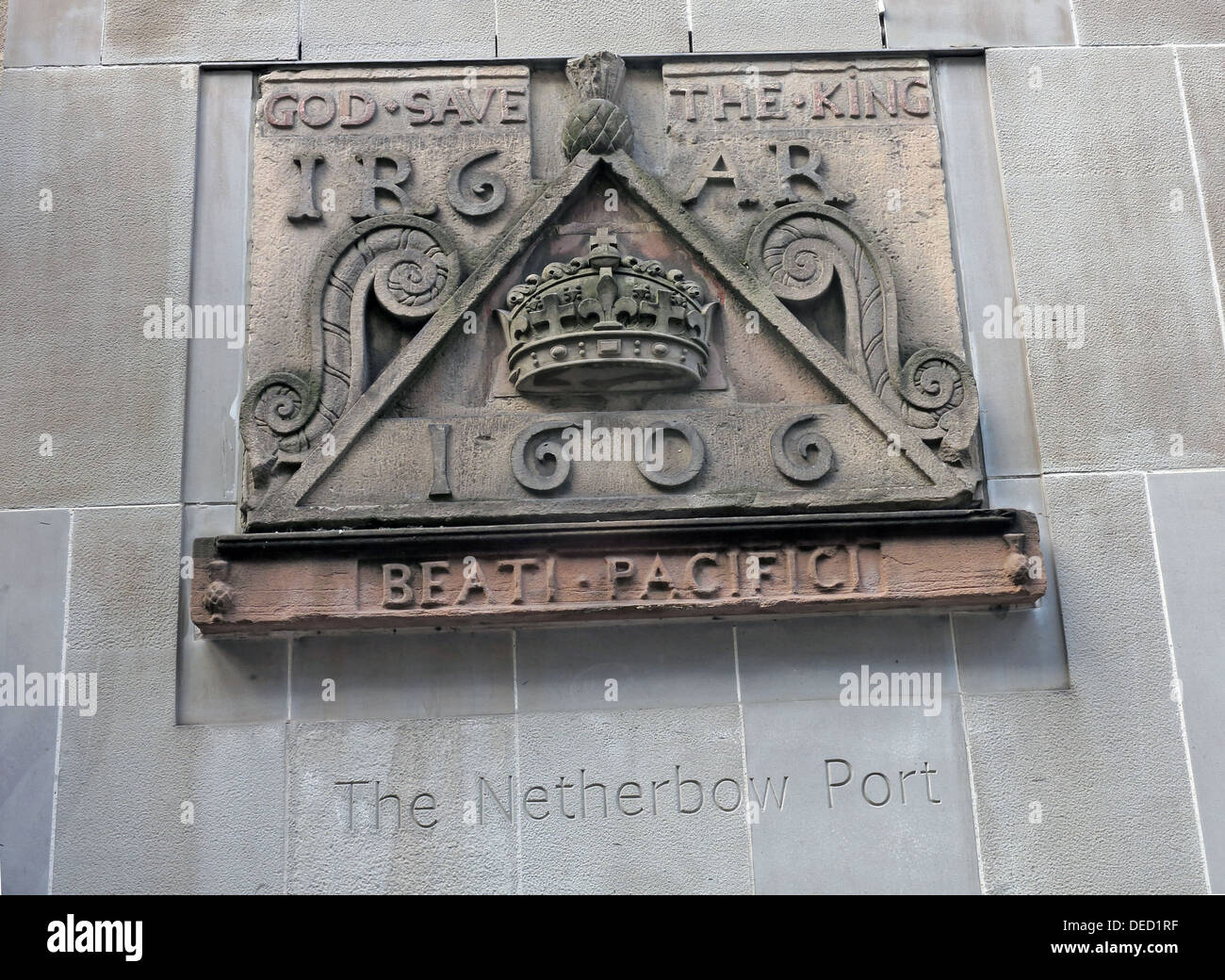 Crest stones indicating the location of the Netherbow Port Canongate Royalmile Edinburgh Scotland UK Stock Photo