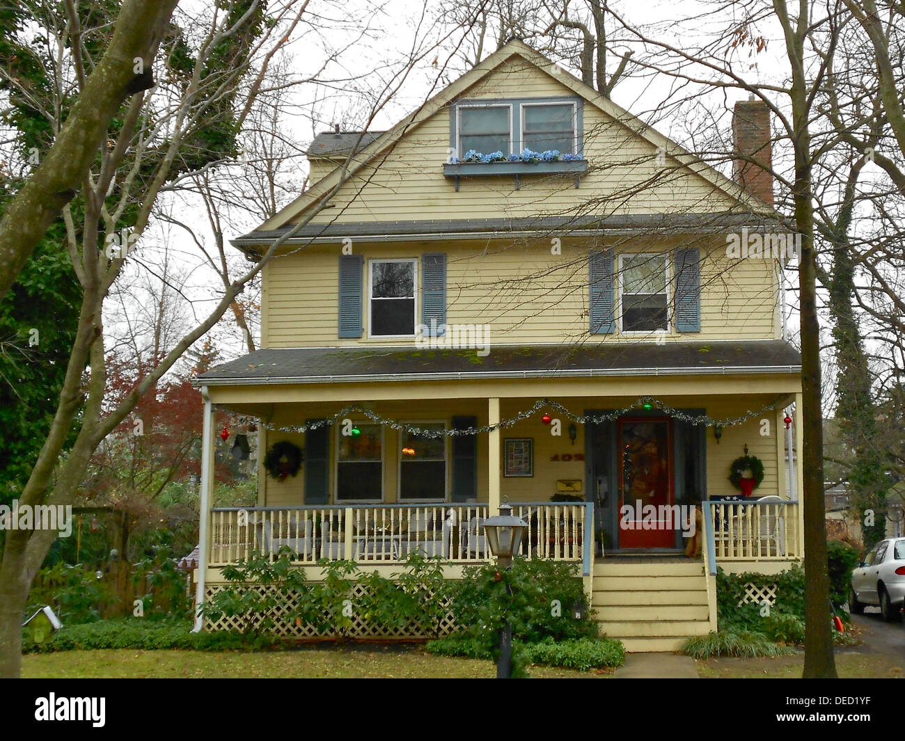 House in the North Wayne Historic District in Wayne, Pennsylvania on the Main Line in suburban Philadelphia. The Stock Photo