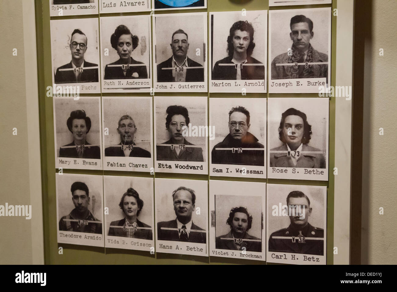 Manhattan Project scientists ID photos - Stock Image