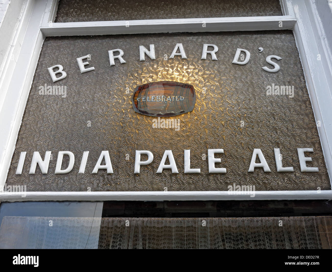 Bernards India Pale Ale sign at the Oxford Bar is a public house situated on Young Street, in the New Town of Edinburgh Stock Photo