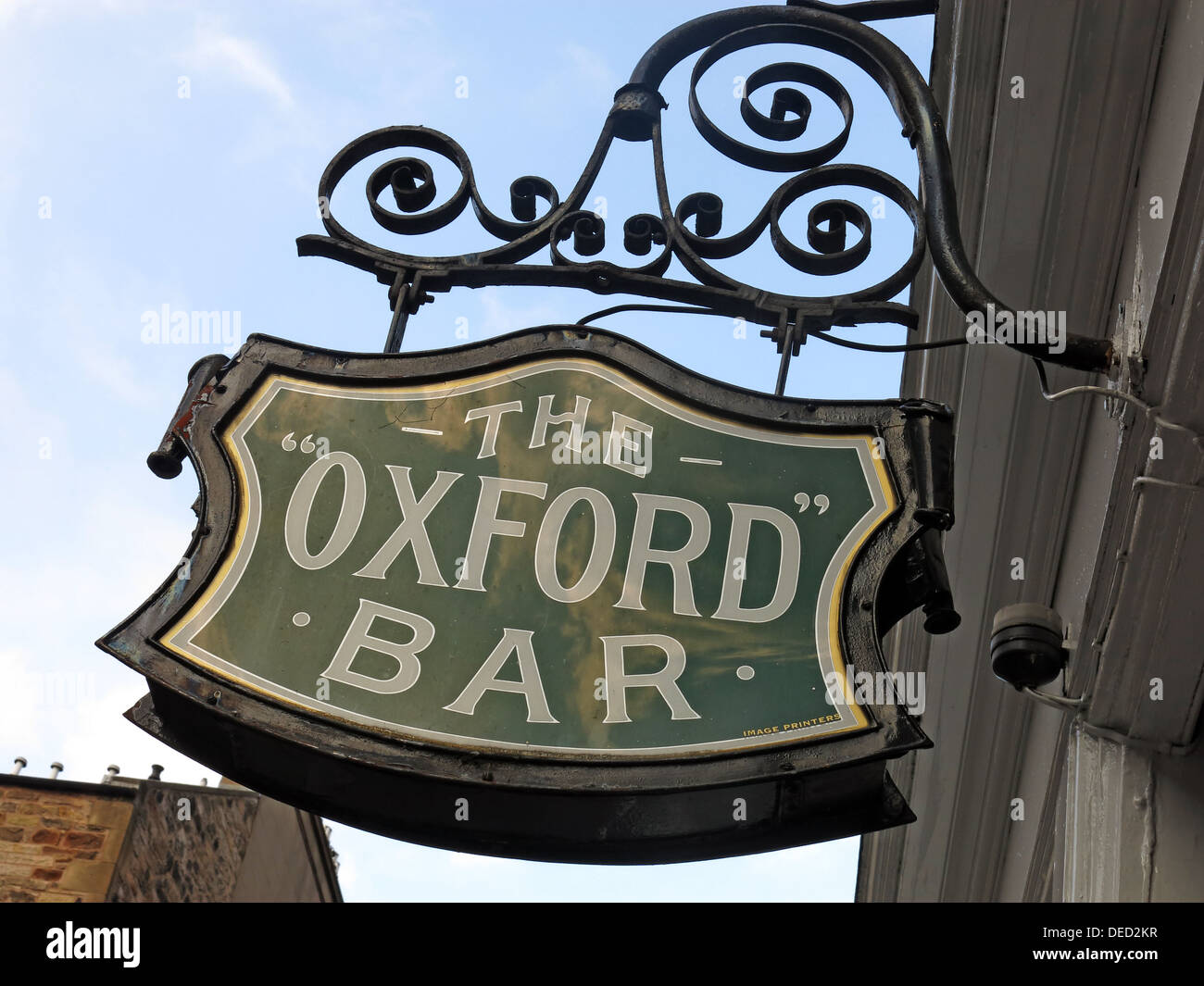 Sign at the Oxford Bar. A public house situated on Young Street, in the New Town of Edinburgh, Scotland. Insp' Rebus's local - Stock Image
