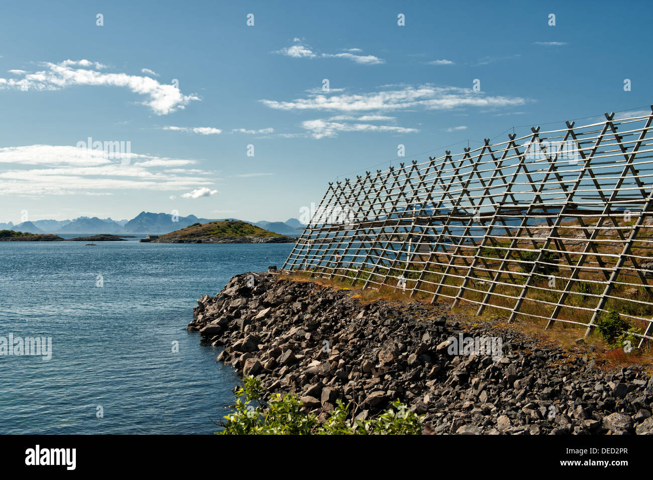 Typical drying flake for Stockfish in Lofoten - Stock Image