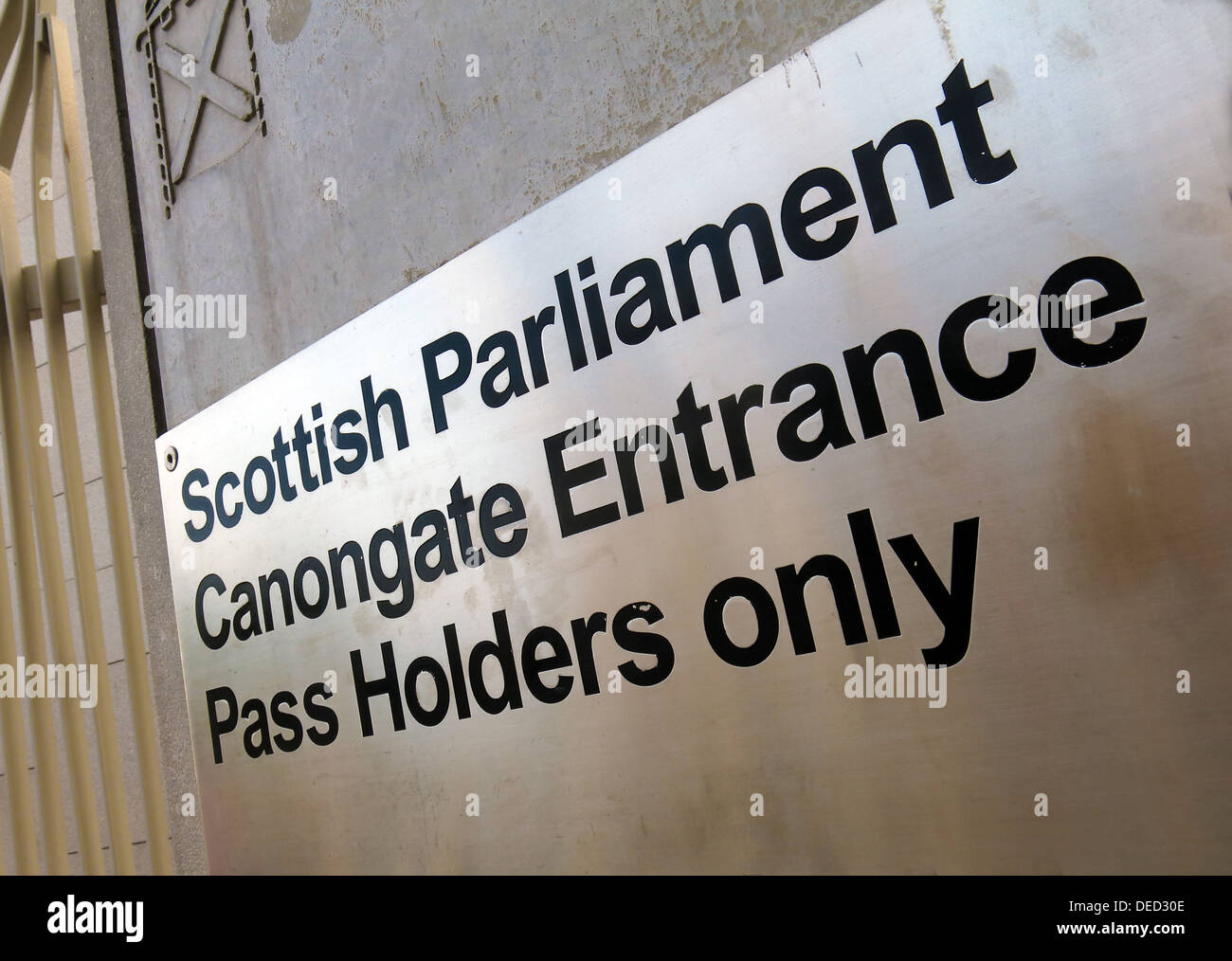 The Scottish Parliament Canon gate door / Government in Edinburgh which would be home of an independent Scotland - Stock Image
