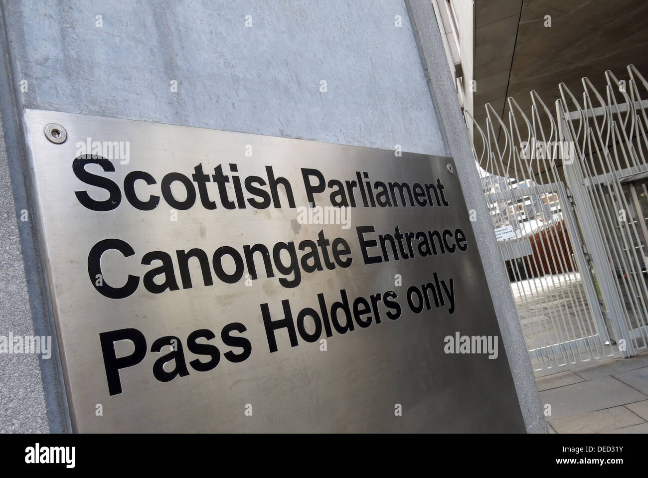 The Scottish Parliament Canongate Entrance / Government in Edinburgh which would be home of an independent Scotland - Stock Image