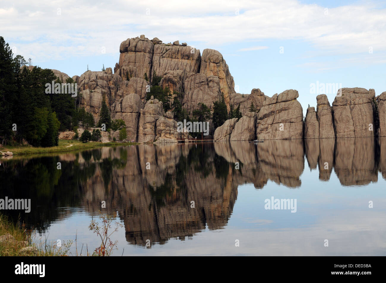 Sylvan Lake. Custer State Park. Part of the dam built by Theodor Reder in 1881. - Stock Image
