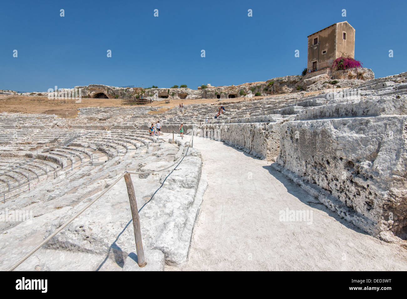 The Greek theater in Syracuse, Sicily. This theater dates back to the 5th century BC. - Stock Image