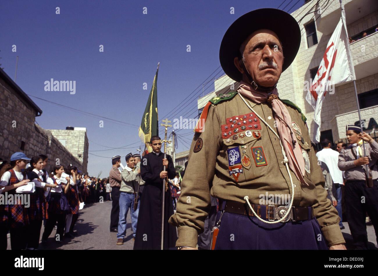 Arab catholic scout group marching during Palm Sunday celebration in Mount of Olives East Jerusalem Israel - Stock Image