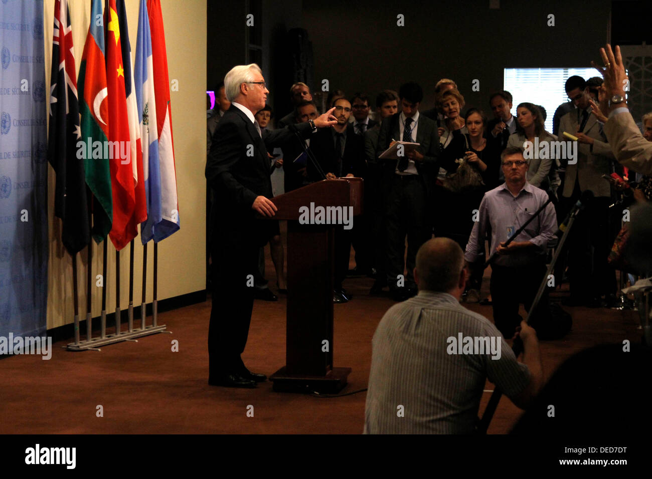UN Headquarters, NY, NY, USA. 16th Sep, 2013. Russian Ambassador to the United Nations, Vitaly Churkin speaks to the media after a briefing in the Security Council on a U.N. report on the use of chemical weapons in Syria, at U.N. Headquarters in New York, Monday September 16, 2013.  photo: Trevor Collens © Trevor Collens/Alamy Live News - Stock Image