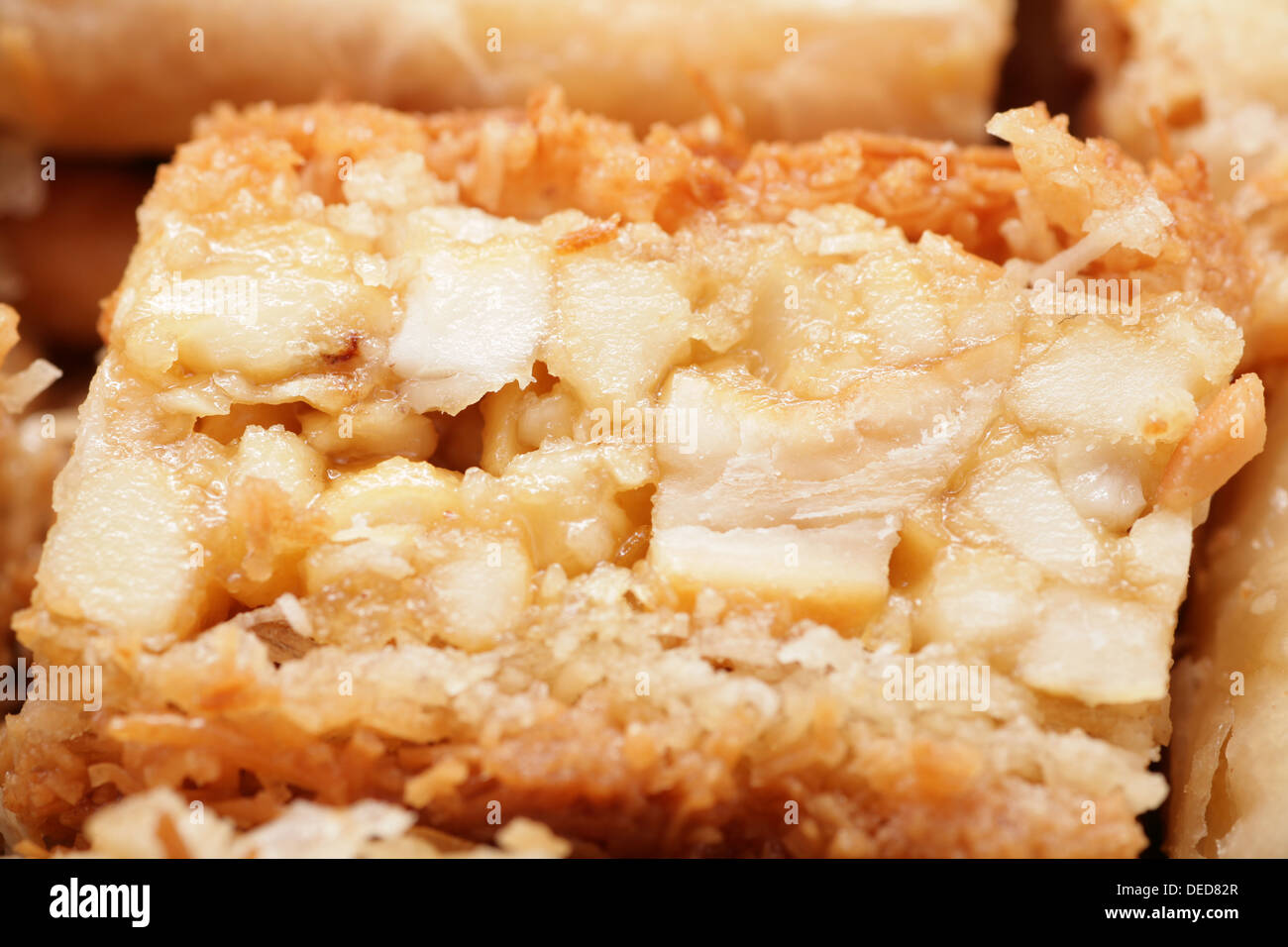 Macro shot of a delicious arabic desert baklava. Is made of filo pastry filled with nuts and steeped in Attar syrup Stock Photo
