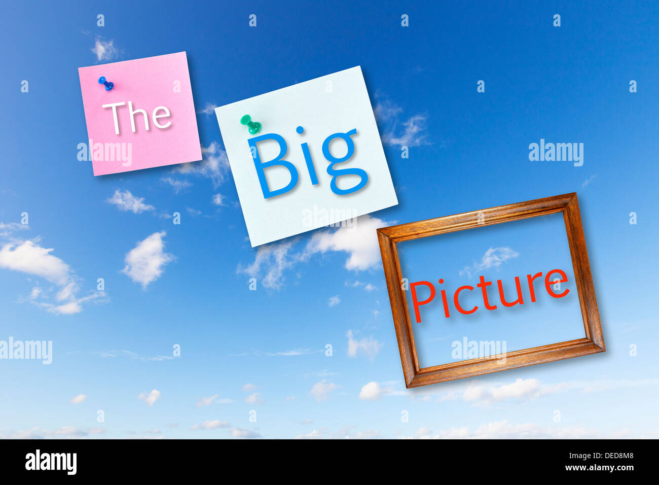 The Big Picture- post it notes and a picture frame on a blue sky with the words The Big Picture - Stock Image
