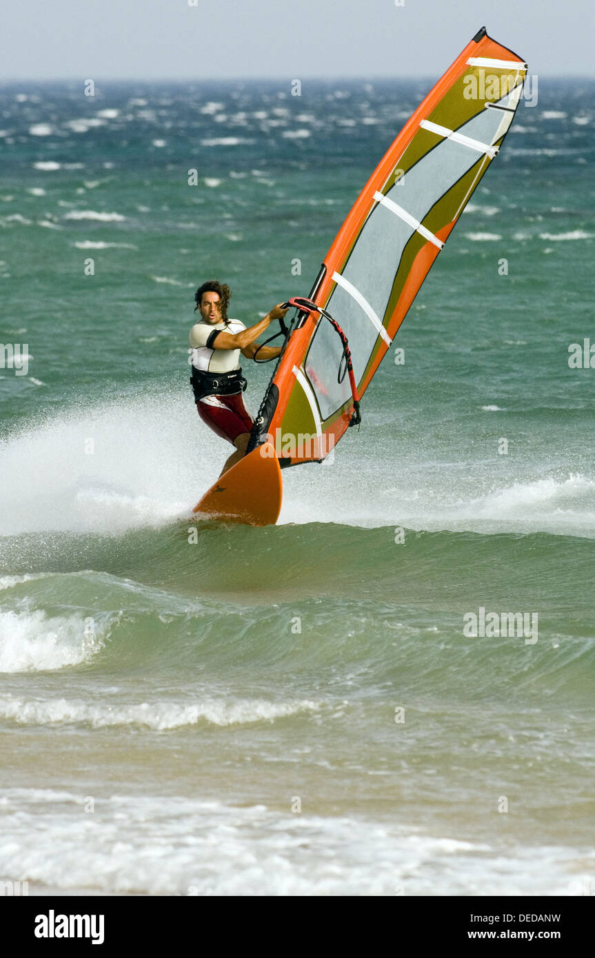 windsurfing in tarifa with strong levante - Stock Image