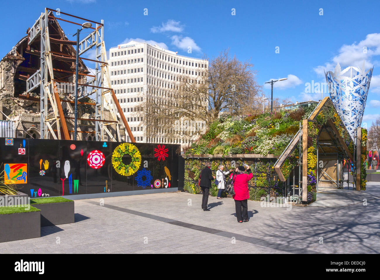 Cathedral Square, Christchurch, New Zealand, early spring 2013, with the green or living roof... - Stock Image