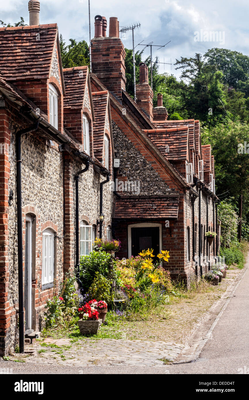 Houses in the Village of Hambleden in Buckinghamshire - Stock Image