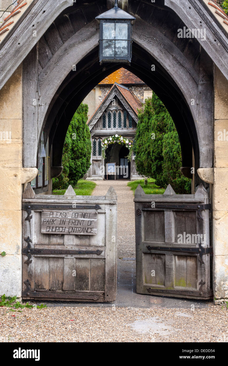 Gates leading to the Church in Hambleden, Buckinghamshire - Stock Image