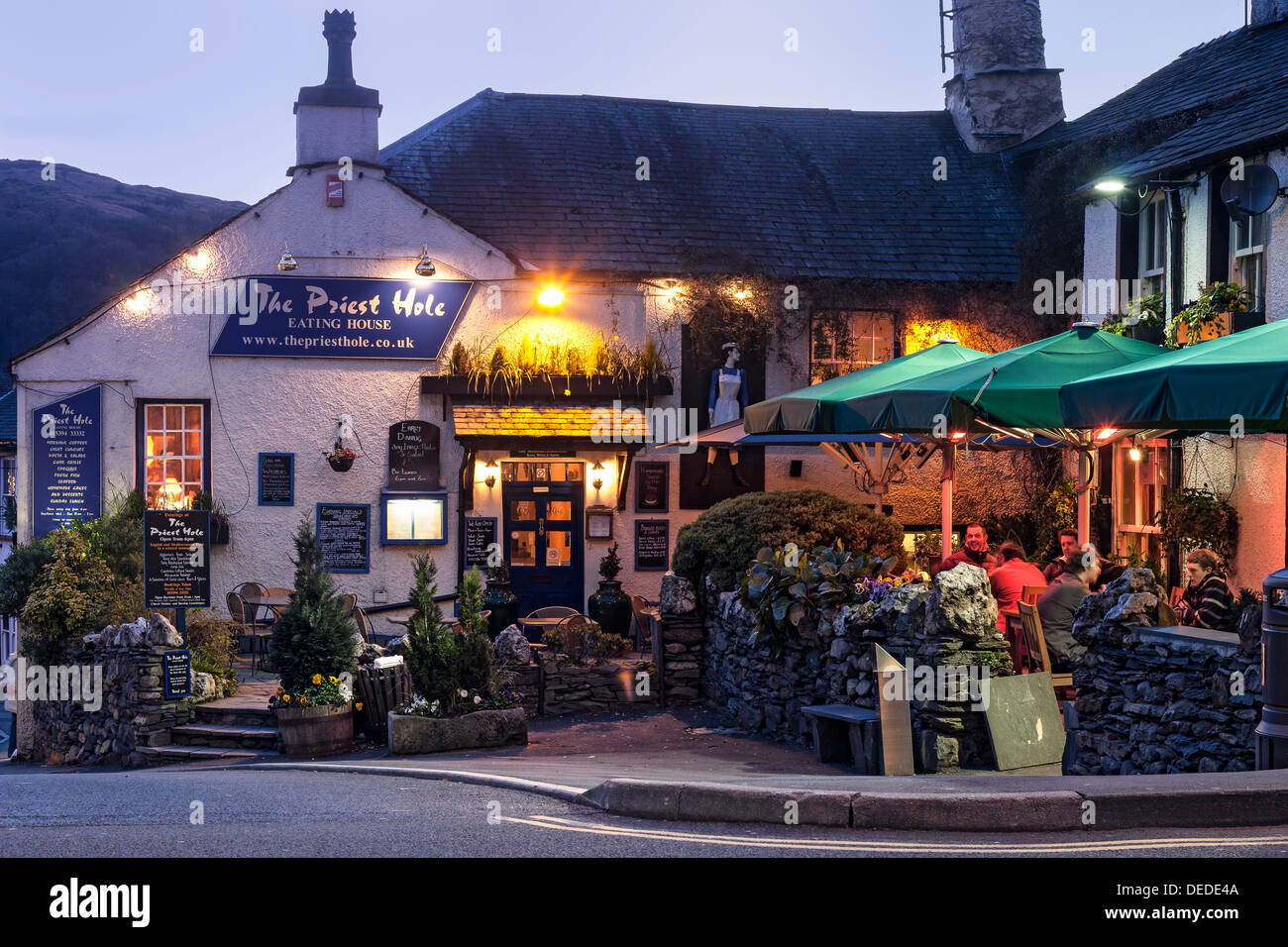 Ambleside pubs in early evening - Stock Image