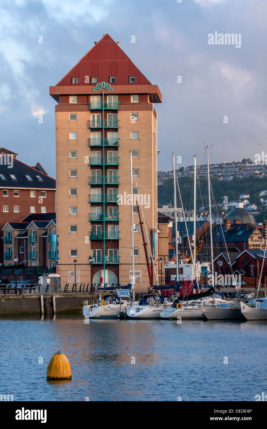 Boats moored in Swansea Marina, Wales - Stock Image