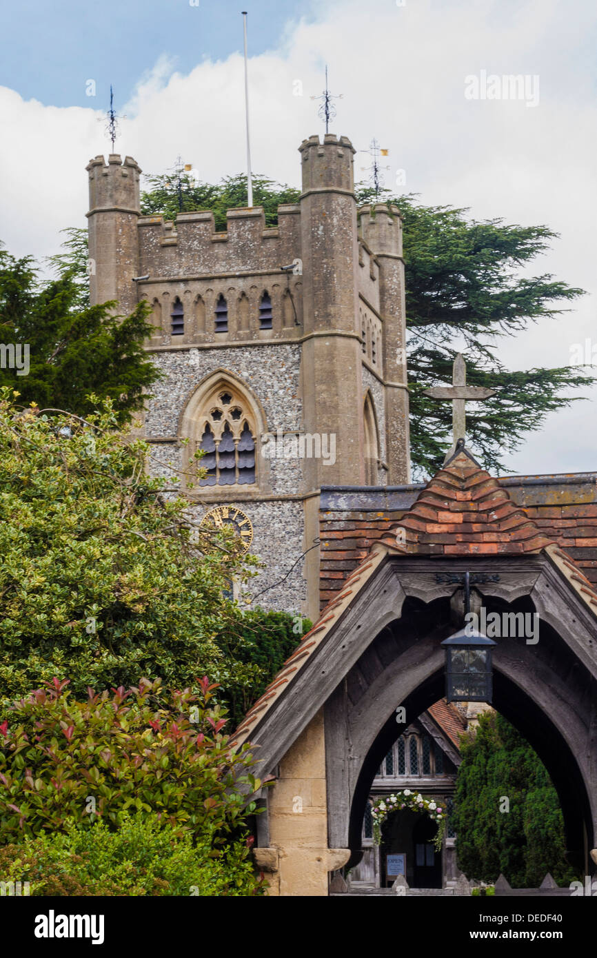 Hambleden Village Church in Buckinghamshire - Stock Image