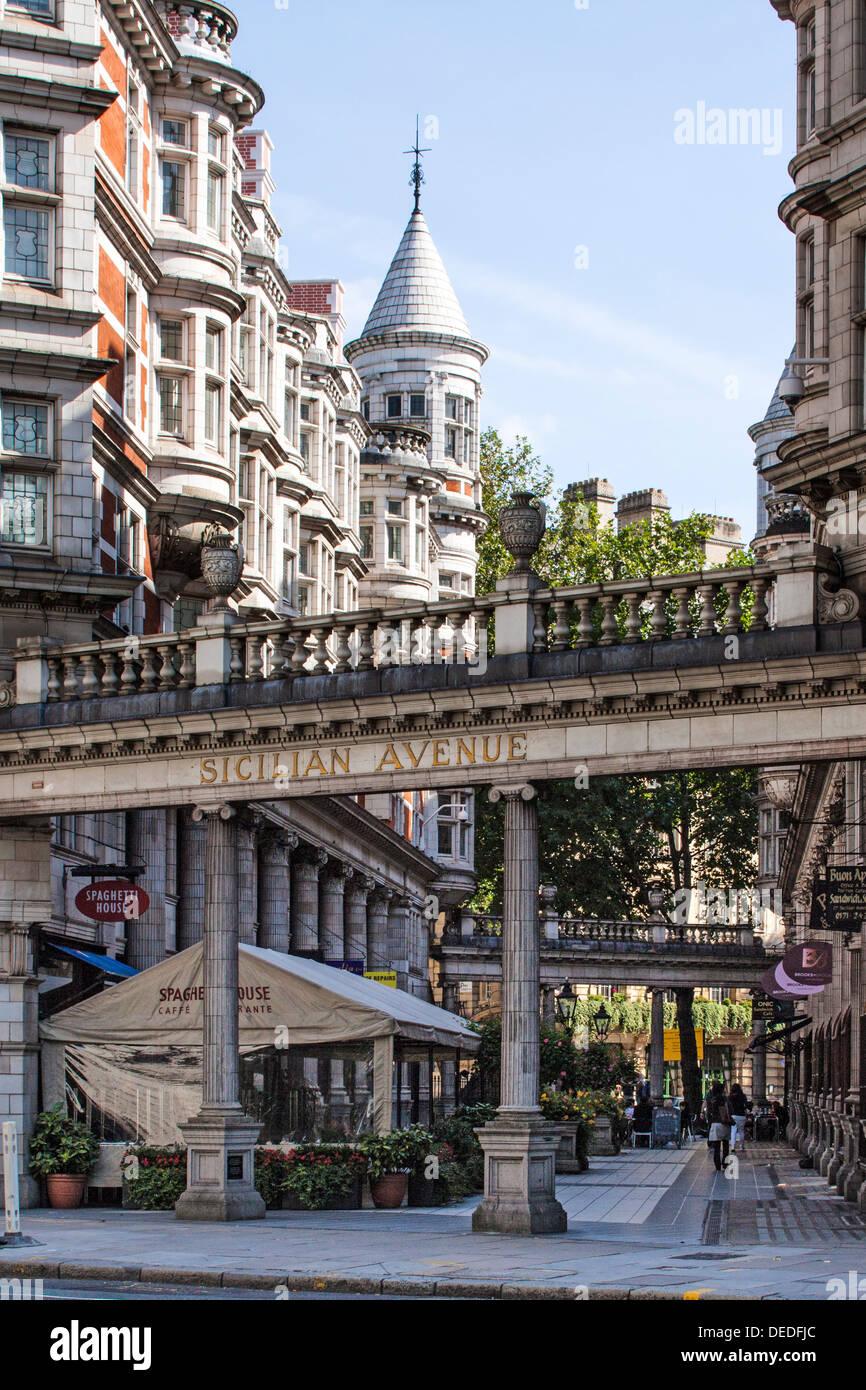 Sicilian Avenue, a pretty London Street in Holborn area of London - Stock Image
