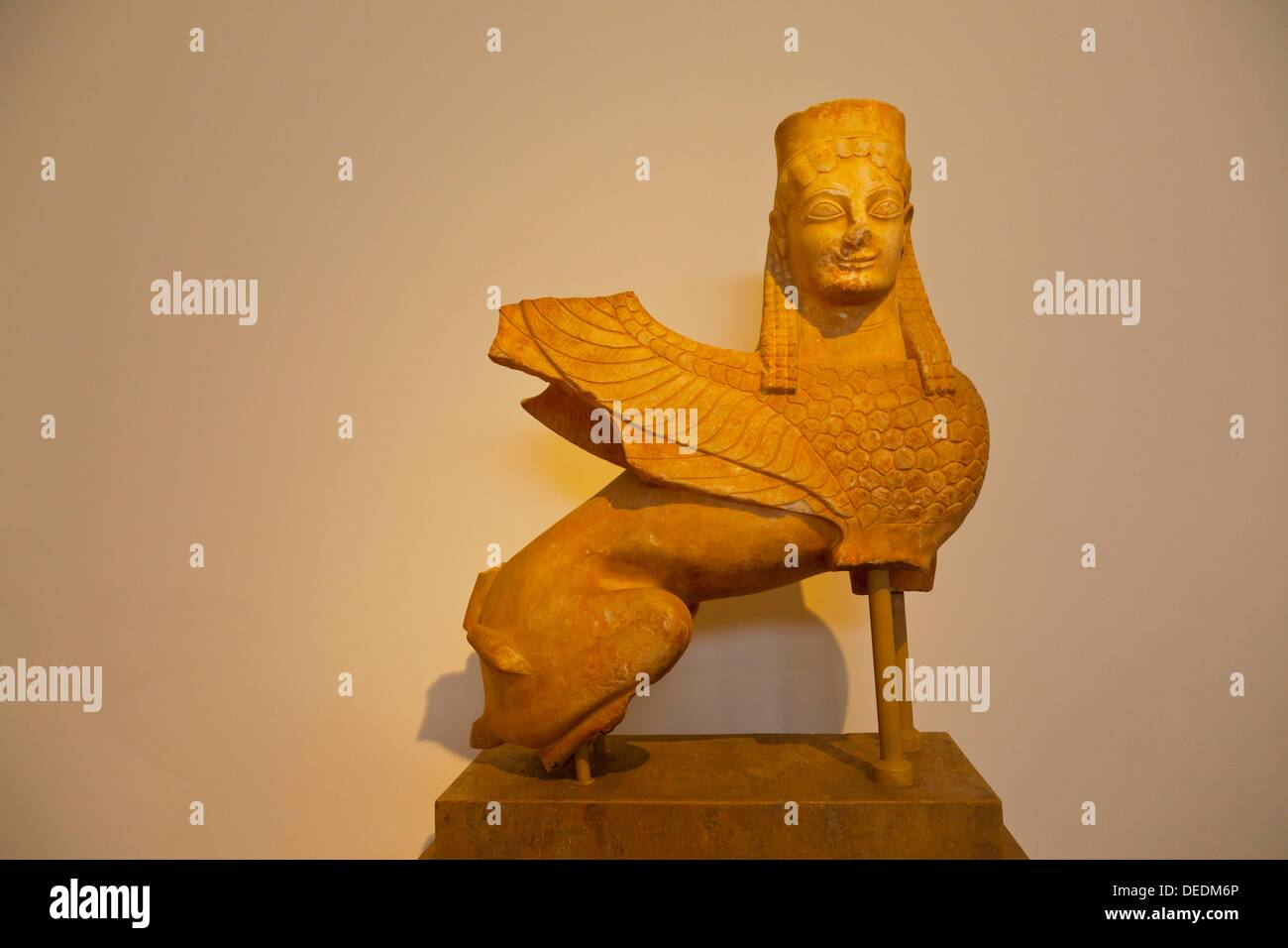 Archaic sphinx, National Archaeological Museum, Athens, Greece - Stock Image