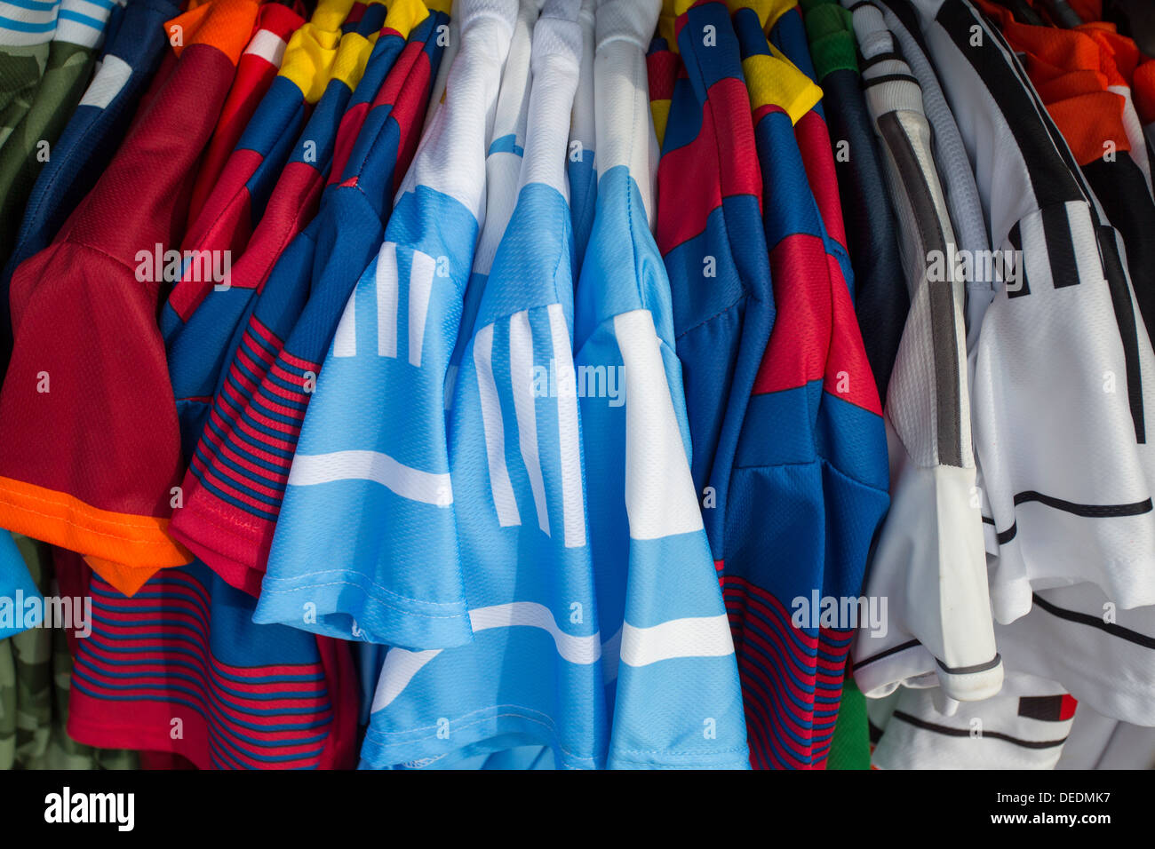 WORLD FOOTBALL SHIRTS FOR SALE NEAR SAN MARCO. VENICE, ITALY - Stock Image