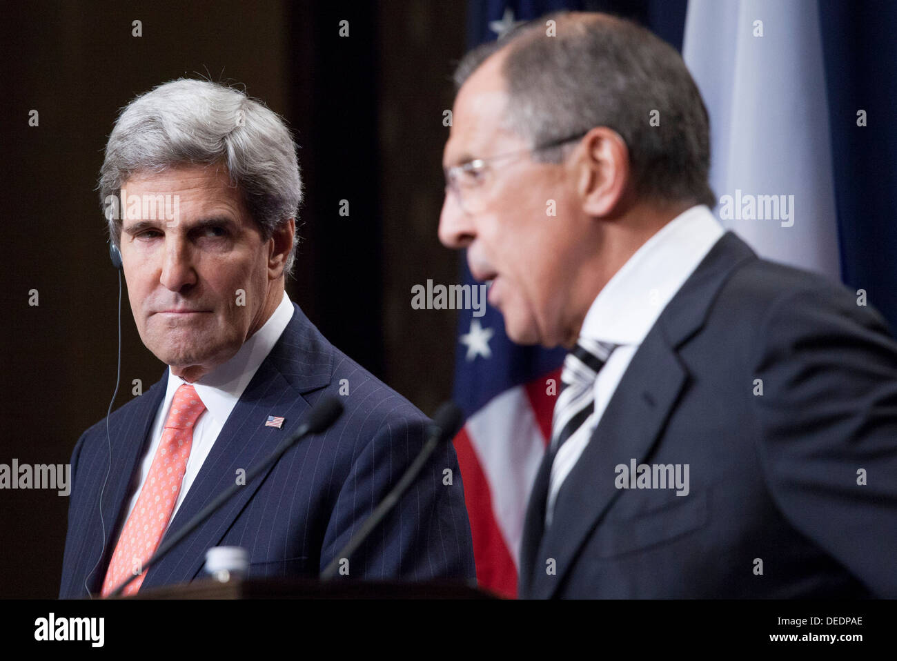 Secretary Kerry listens to Foreign Minister Lavrov - Stock Image