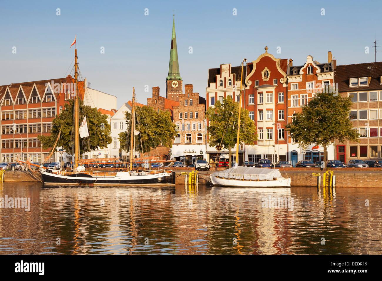 Holstenhafen at River Untertrave, Lubeck, Schleswig Holstein, Germany, Europe - Stock Image