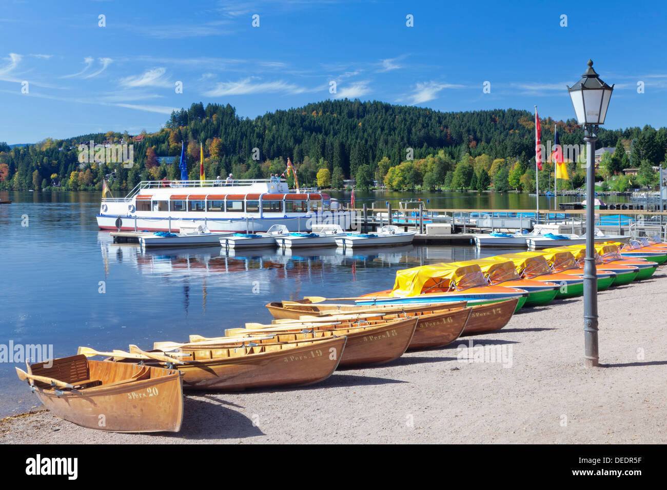 Rowing Boats At Titisee Lake Titisee Neustadt Black Forest Baden Stock Photo Alamy