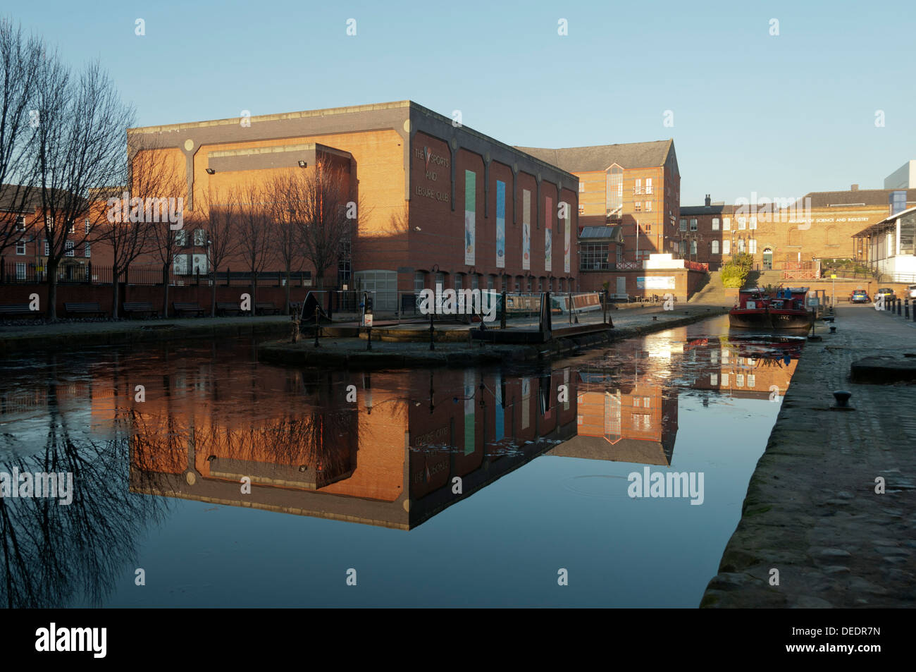 Reflections in Castlefield Basin, Manchester, England, UK. - Stock Image