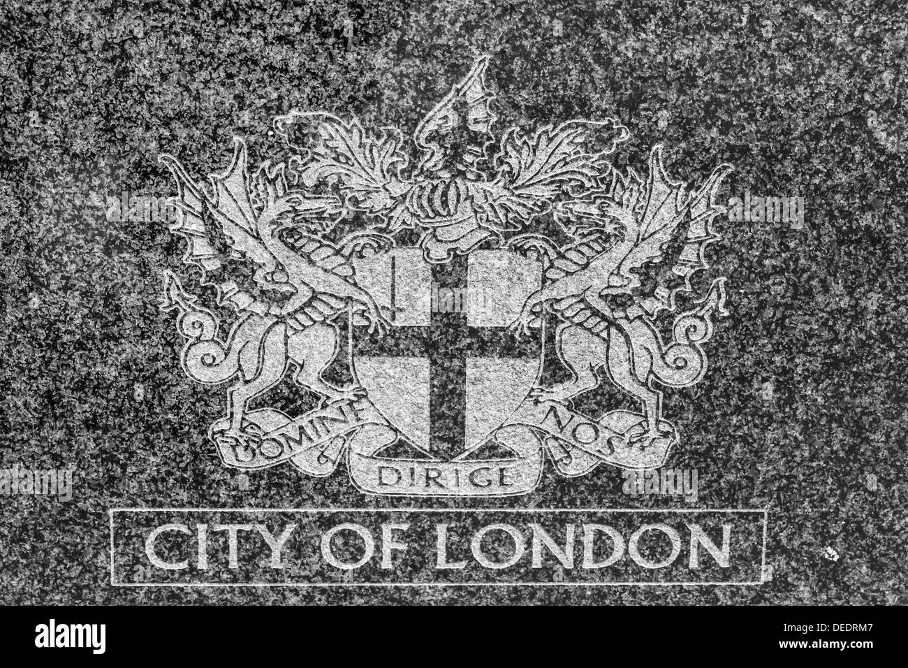 City of London Coat of Arms Carved in Stone - Stock Image